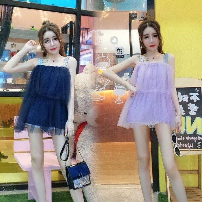 青木居家時尚新款女裝小心機韓版寬松網紗吊帶背心女露肩蓬蓬上衣娃娃衫潮