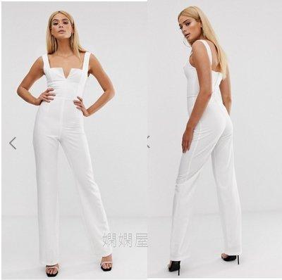 (嫻嫻屋) 英國ASOS-Vesper優雅時尚白色小V領爆乳寬肩帶緊身胸衣長褲連身褲禮服洋裝SI20018