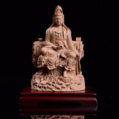 傳藝工坊 - 『持蓮觀自在』觀世音 觀音 佛教 娑婆三聖 三寶佛 西方三聖 木雕石雕可參考 小佛像