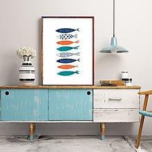 北歐風格現代簡約卡通魚群裝飾畫畫芯微噴打印噴繪畫