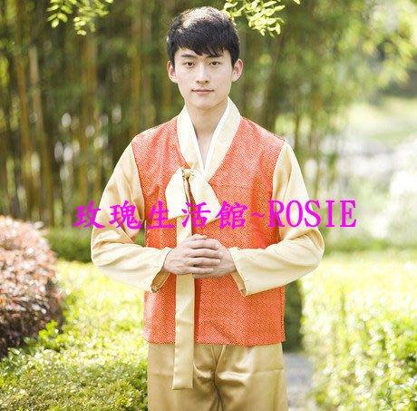 【玫瑰生活館】~ 傳統韓服男士套裝: 男韓服,宮廷服,表演服: 上衣,長褲 2件式均碼