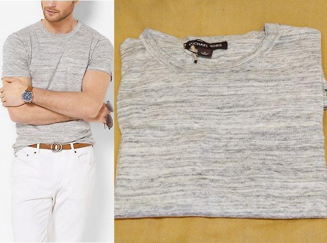 大降價!全新 Michael Kors Men MK 高質感淺灰色極簡風棉質 T 恤!低價起標無底價!本商品免運費!