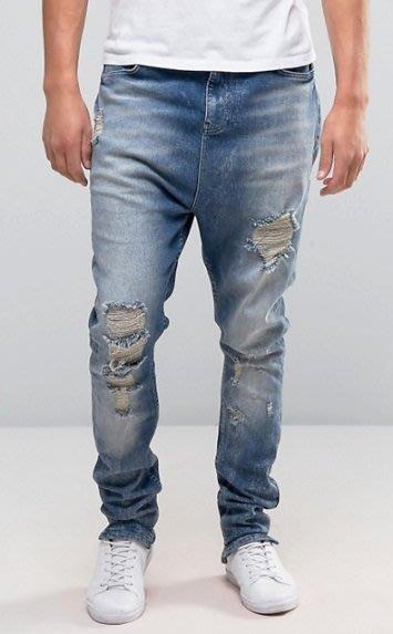 ◎美國代買◎ASOS淺藍白刷色多處刷破搭配寛鬆垮褲褲襠嘻哈風格刷破刷色牛仔褲~歐美街風~大尺碼~