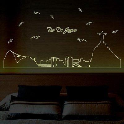 夜光 壁貼 ABQ 9615 聖保羅剪影 第三代 不傷牆面 重複撕貼 完成尺寸約156X62CM~神來也