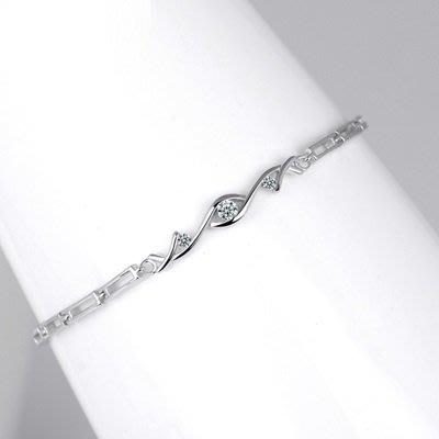 925純銀 手 鍊  鑲鑽手環-時尚精美別緻優雅女飾品73qq9[獨家進口][米蘭精品]