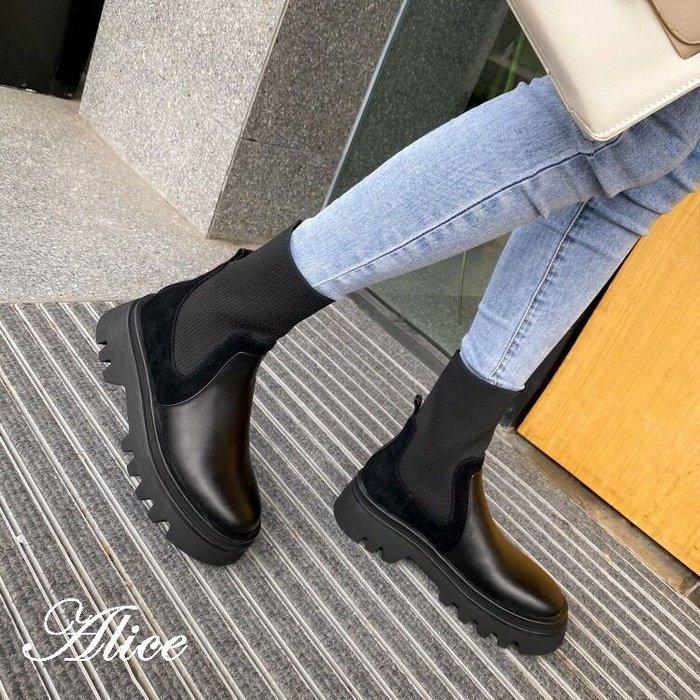 『Alice❤愛麗絲』秋冬真皮馬丁靴女英倫風短筒靴厚底百搭切爾西靴粗跟短靴