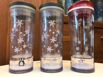 Starbucks 星巴克 2009年 & 2010年耶誕 聖誕節 限量 白兔 企鵝 雪人 透明雪花隨行杯 雪花 透明 共3款 不分售