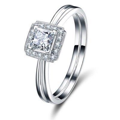 戒指 鑲鑽925純銀銀飾-閃耀方形高貴大方情人節生日禮物女飾品73lz64[獨家進口][米蘭精品]