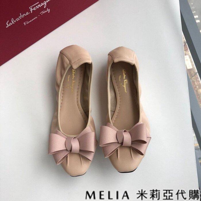 Melia 米莉亞代購 歐美精品女鞋 商城特價 SALVATORE FERRAGAMO 蛋捲鞋 雙蝴蝶結設計 杏色