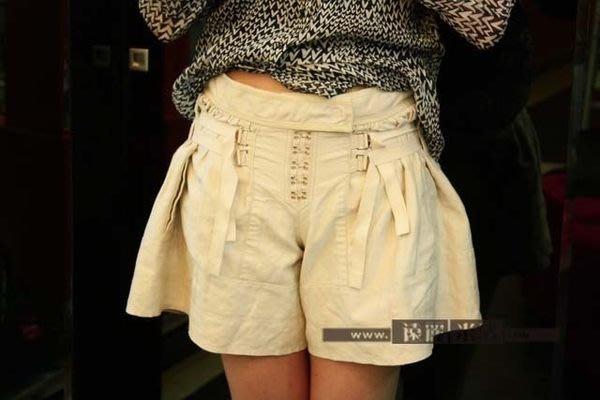 【遠麗】台北大安店~G0763 LV 卡其色棉質前釦褲裙    真品/正品   現貨
