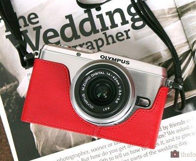 theFoto Olympus E-P3 (EP3) 義大利認證牛皮 真皮 相機皮套 (紅色)