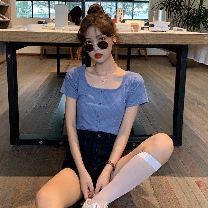 小香風 短袖T恤 時尚穿搭 韓版 復古ins修身 顯瘦 單排扣方領學生短款短袖T恤女裝