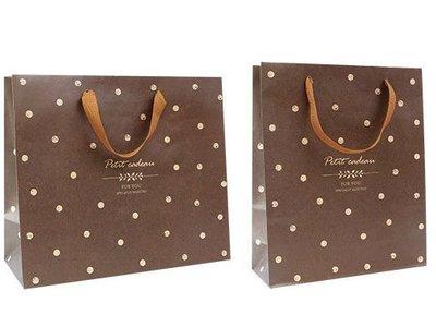 【天愛包裝屋】// 25個 // 大4K(方) 咖啡點點棉把紙袋、禮物紙袋