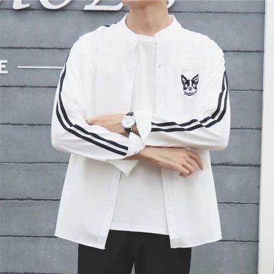 男士長袖襯衫個性潮男港風立領韓版學生bf風透氣薄款襯衣