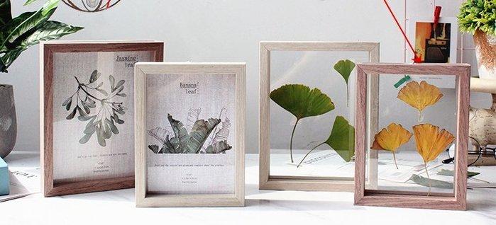[C.M.平價精品館]6*8/北歐創意實木相框/可自製標本/暖白咖啡色畫框/相框