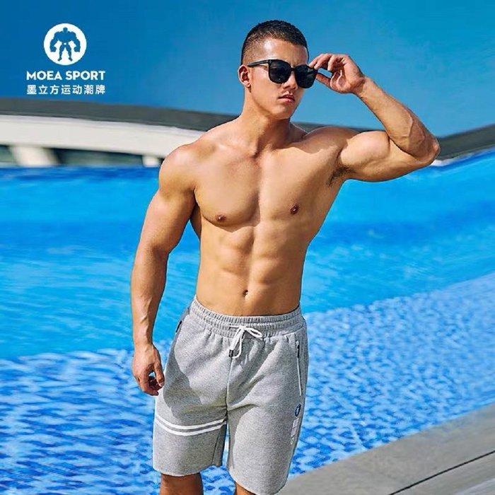 【OTOKO Men's Boutique】MOEA墨立方藍獅運動短褲/五分褲/灰色(台灣獨家代理)
