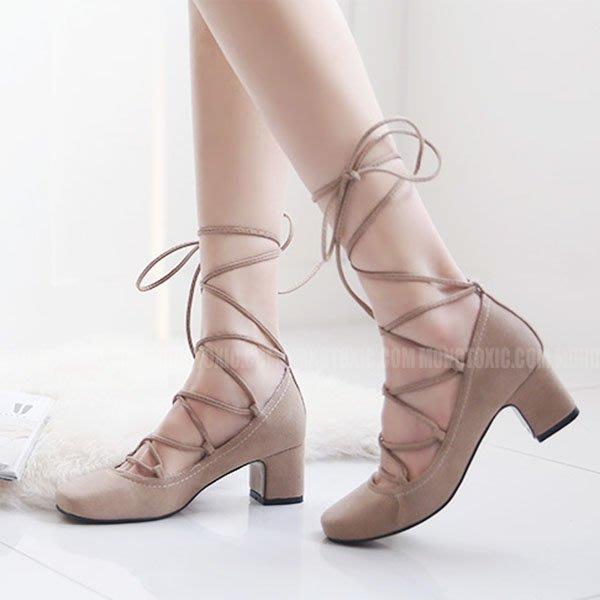 5Cgo【鴿樓】會員有優惠  526966139828 歐洲站綁帶粗跟單鞋女中跟高跟鞋春夏新款 方頭淺口學院小碼鞋