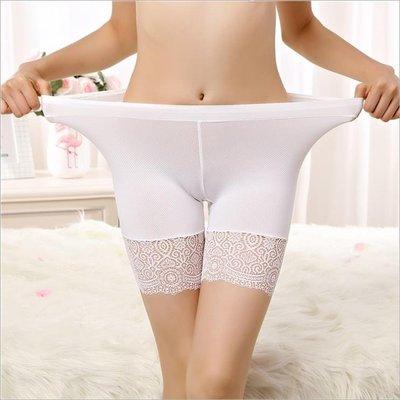 安全褲胖mm薄防走光保險褲夏季女士三分蕾絲打底褲加肥加大碼短褲