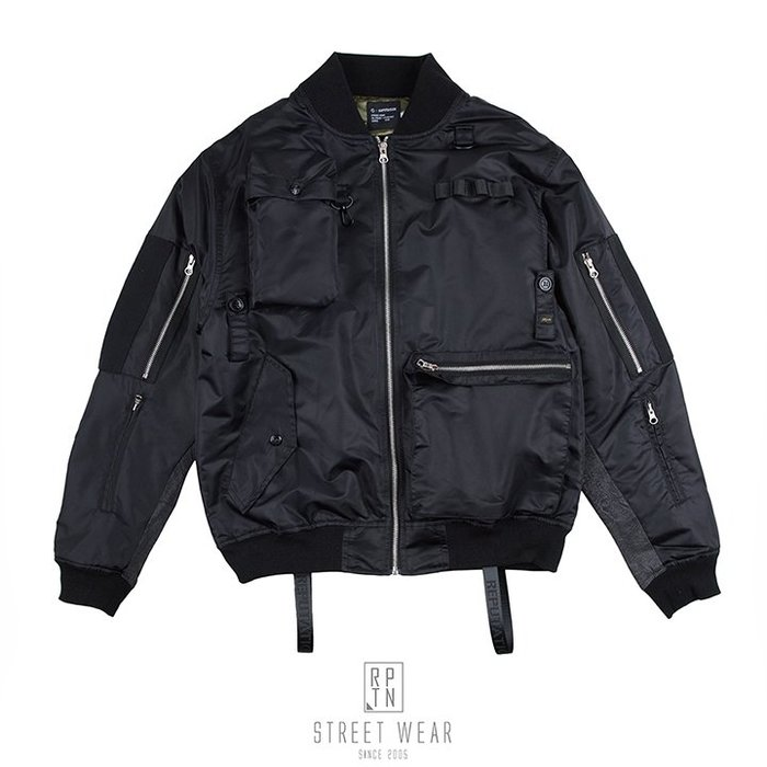 REPUTATION Deluxe Black Denim MA-1 / D - JACKET.FW - 頂級黑牛仔拼接