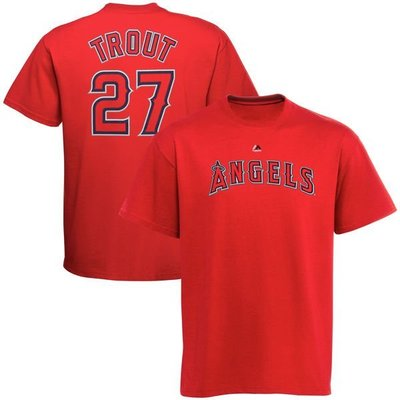 MLB天使隊Majestic Mike Trout Name and Number T-Shirt球員號碼短袖T恤-紅色