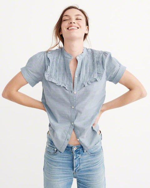 美國 Abercrombie & Fitch 小荷葉短袖鈕扣襯衫 現貨M