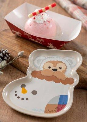 ArielWish日本東京迪士尼2019聖誕節達菲熊Duffy雪白雪花帽耶誕襪聖誕襪點心盤蛋糕盤餐盤小盤子水果盤-絕版品