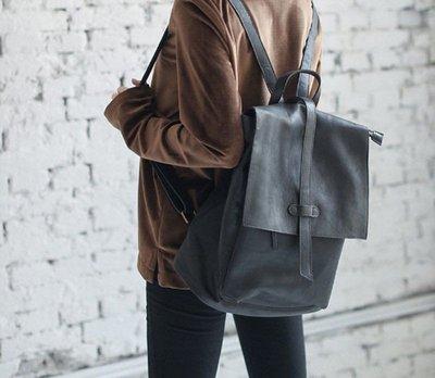 [轉售Pinkoi好物]多夾層設計學院風皮質黑色後背包 · 全新