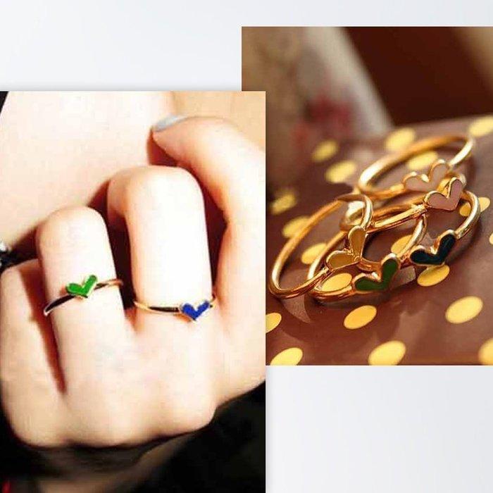 《祕境飾品》歐美日本韓國時尚流行 甜心可愛彩色愛心圖案五件組戒指 五件套 5件組 個性 戒指 關節戒 尾戒