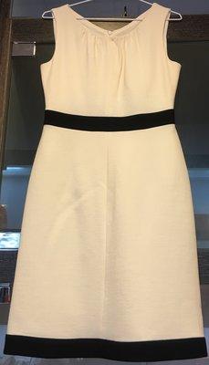 *金選名店*MaxMara 羊毛米白滾黑邊典雅洋裝 / 連身裙  160/84A