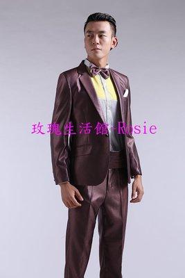 【玫瑰生活館】全彩色長袖西裝套~咖啡,藍,粉紅,綠,紅,黃色西裝(送領結與腰封)主持人西裝~窄版
