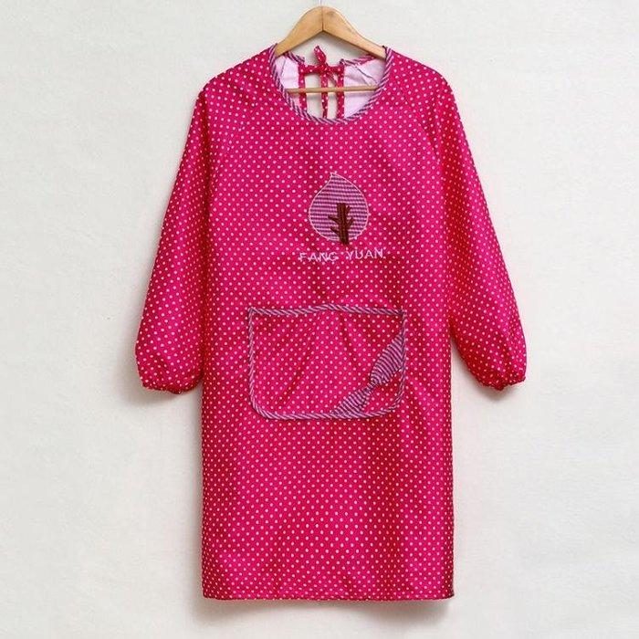 圍裙長袖花邊韓版時尚純棉廚房成人女罩衣防污防油家居反穿衣