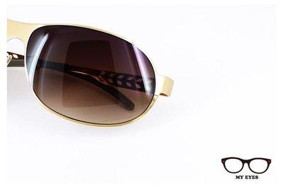 【My Eyes 瞳言瞳語】Bonkers蜜金薄片金屬太陽眼鏡 鏡腳鏤空條紋設計 抗UV