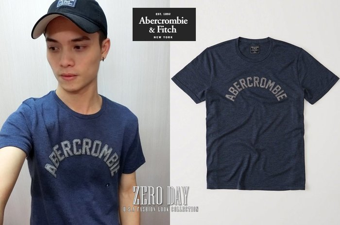 零時差美國時尚網A&F真品Abercrombie&Fitch Logo Graphic Tee針織字母短袖TEE-深藍色