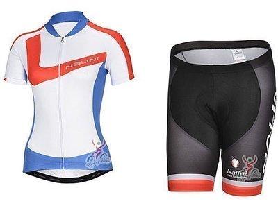 呱啦呱啦代購 2014年款NALINI 紅藍女款 車衣車褲短套裝 自行車服 單車服 排汗透氣 騎士服