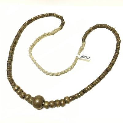 緬甸老件 銅製項鍊掛串 頸子圓珠形項鍊(扎實沈著感)
