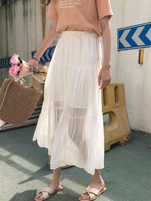 韓版 復古 港風 歐美 時髦白色百褶裙女夏 新款韓版簡約百搭顯瘦松緊腰中長款半身裙學生