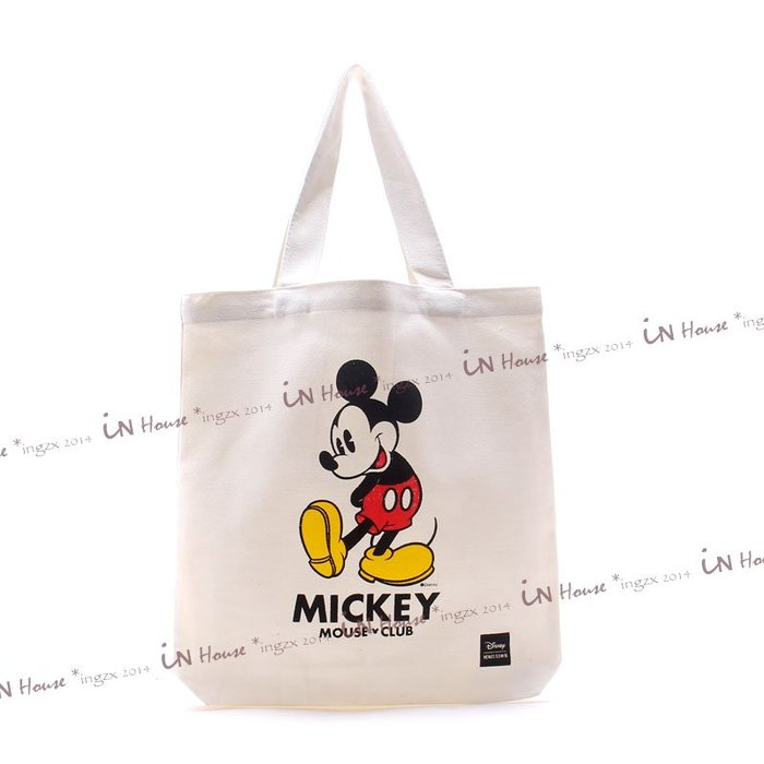 IN House* 日本雜誌附錄 贈品 MICKY MOUSE 米老鼠 帆布袋 書袋 單肩包 托特包 手提袋 購物袋