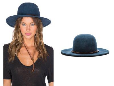 ◎美國代買◎Brixton Tiller 深咖啡色細皮帶裝飾圓帽型藍色純羊毛時尚紳士羊毛帽~S碼現貨一頂~大尺碼