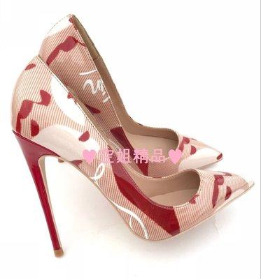 ♥空姐精品♥2020歐美最新款 拼色塗鴉尖頭高跟鞋 貨號CL-29 婚鞋 紅底鞋 大小尺碼