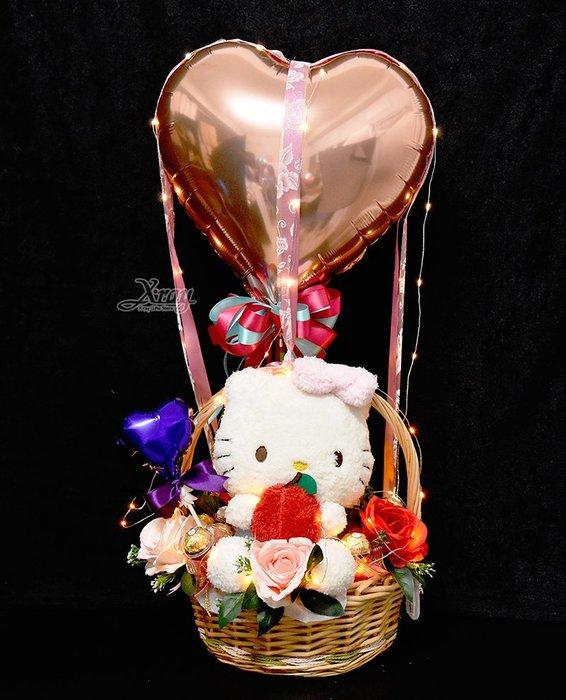 X射線【Y526899】Hello Kitty音樂水果娃娃幸福熱氣球,捧花/情人節禮物/金莎花束/亮燈花束/熱氣球/告白