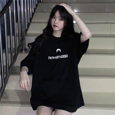 小香風 短袖T恤 時尚穿搭 ins超火上衣女裝 韓版 原宿風字母印花中長款短袖T恤潮