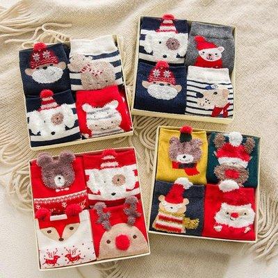 【蘑菇小隊】圣誕襪子女純棉紅色中筒襪韓版學院風圣誕禮物盒裝-MG14529