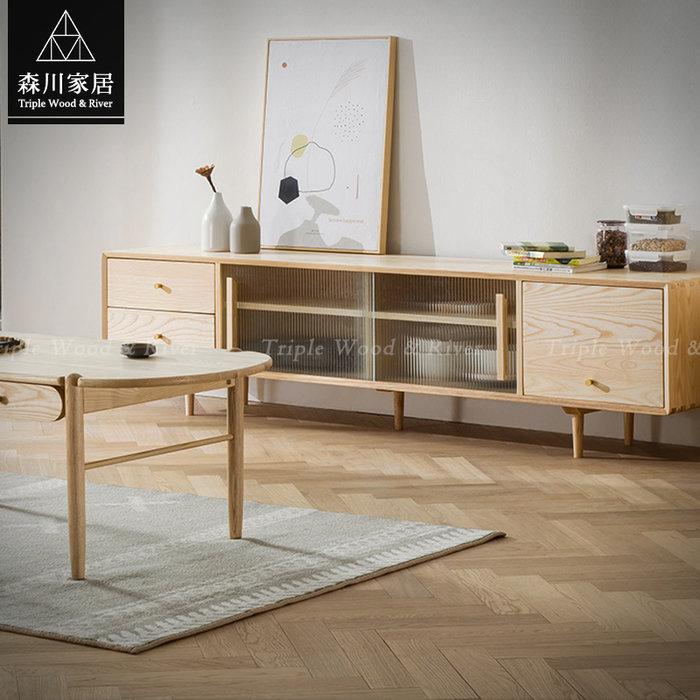 《森川家居》NLF-60LF01-北歐實木梣木2.1米電視櫃 客廳抽屜櫃民宿/高低櫃設計/日式原木LOFT品東西IKEA