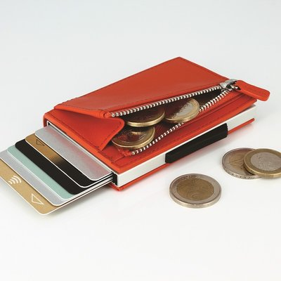 法國原裝進口 OGON Cascade Zipper Wallet RFID Orange Leather 橘色真皮