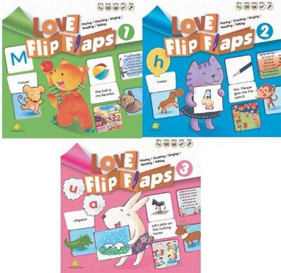 3歲 厚紙板翻翻書 簡單學英文 自然發音 Love Flip Flaps 點讀筆系列 筆+第一集