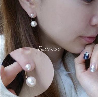 Empress丶耳環女日韓國耳飾潮人個性百搭白色珍珠雙球學生防過敏氣質耳墜女