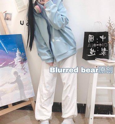 「薄荷家」 BLURRED BEAR創意日系運動休閒束腳褲女春夏寬松學院風少女長褲F5H6