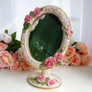粉紅玫瑰精品屋~外貿田園風格台式可愛鏡子/浮雕玫瑰花可調角度公主梳妝鏡 ~現貨+預購