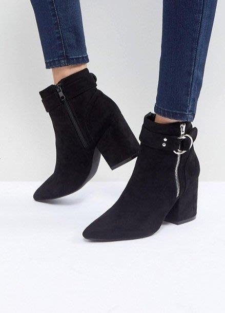 ◎美國代買◎ASOS代買雙圓金屬扣環皮裝飾靴筒拉鏈開合黑色麂皮尖頭高跟拉鏈踝靴~歐美風~大尺碼