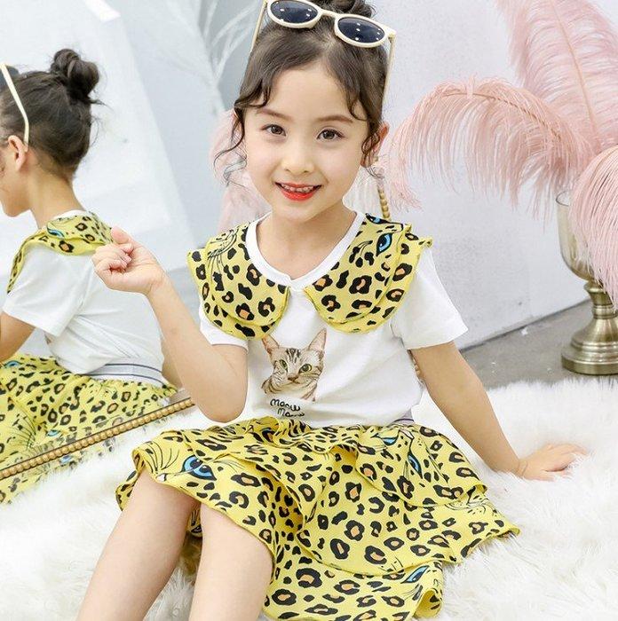 日韓歐美♥韓版中大女童 個性套裝 豹紋貓咪印花上衣 豹紋短裙 夏日套裝【Q027】